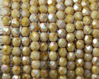 Czech Glass Beads, 4mm Fire Polish, Faceted Round, 50 Beads