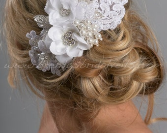 Bridal Lace Hair Comb, Pearl and Rhinestone Hair Comb, Wedding Lace Headpiece, Wedding Hair Accessory, White or Light Ivory - Sara