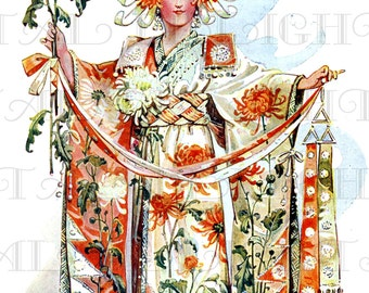 CHRYSANTHEMUM Vintage Asian WOMAN as Flower Illustration! Digital Download. Vintage Print. Vintage Digital. Lovely for Greeting Cards!