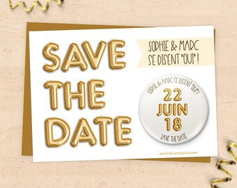 """Save the Date"" wedding invitation customized with magnet - Collection gold balloons"