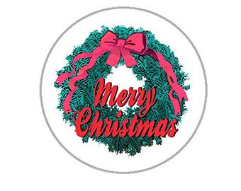 """Christmas Envelope Seals - 1.2"""" Christmas Stickers - 144 Fun Holiday Stickers (Wreath) - 25155"""