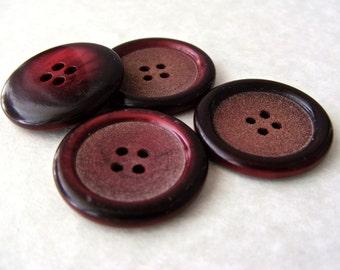 """Set of Four Vintage 1930's Coat Button-Cranberry Red Plastic - 1 & 1/16"""" VRP48"""