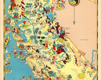 1930's Vintage California Picture Map State Cartoon Map Print Gallery Wall Art Map Collector Gift for Traveler Birthday Wedding RT