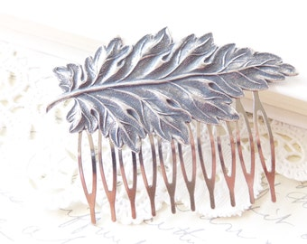 Sterling Silver Plated Leaf Hair Comb - Ox Silver Leaf Hair Accessory - Woodland Hair - Wedding Hair Comb - Whimsical - Nature - Bridal Hair
