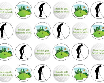 Golf Edible Cupcake Toppers, Father's Day Toppers, Birthday Toppers, Edible Toppers, Wafer or Icing Paper, 12 or 24