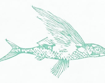 Flying fish stamp, flying fish hand carved stamp, flying fish rubber stamp, animal stamp, handmade stamp, card making supplies