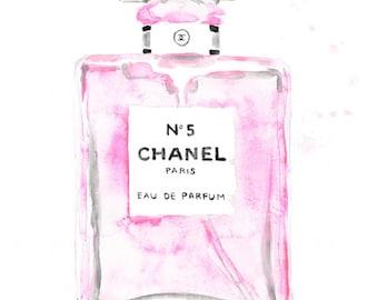 Chanel light pink perfume number 5 bottle INSTANT DIGITAL DOWNLOAD