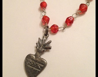 Sacred Heart Ex Voto Milagros Rosary Necklace