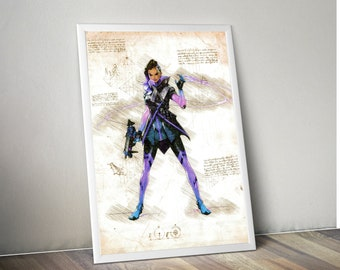 Overwatch Sombra Parchment Poster Small, Medium, and Large sizes