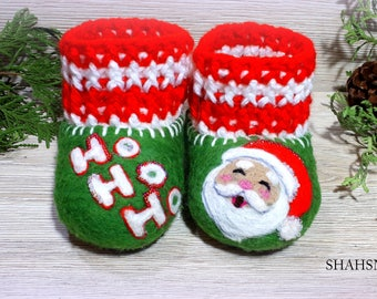 Toddler Costume Cristmas 1st Holiday Infant Shoes Soft Sole Booties Pregnancy Baby Gift Organic Crib Shoes Vegan Booties Merino Wool Felted