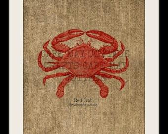 Burlap Print, Red Crab