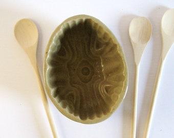 Vintage Stoneware Pudding Mould - Ceramic Jelly Mold - Oval Dessert Pan Baking Dish Victorian Bakeware Grey Kitchen Decor - Ceramic Planter