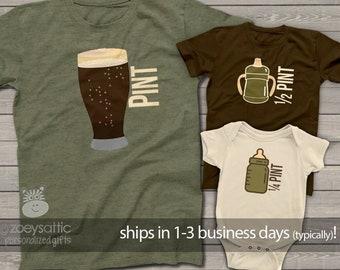 pint half quarter pint matching dark t-shirts   dad kiddos matching three shirts father's day set   father's day shirt gift  MDF1-011-set