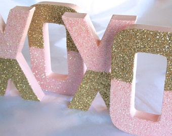 "8"" Dual Glittered Letter, BABY Nursery, Wedding, Home or Party Decor, Self Standing, ANY COLORS"