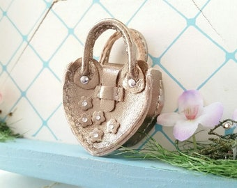 Mini Silver Leather Fashion Heart Flower Doll Hand Bag For Azone Pure Neemo Pukifee Lati Neo Blythe HandMade