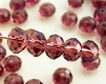 6x4mm Crystal Rondelles Faceted Beads Transparent Dark Plum (Qty 15) MW-6x4R-DP