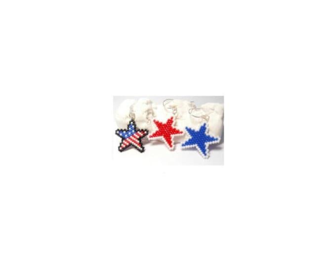 3 Patriotic Star Brick Stitch Bead PATTERNS | Printable Digital Download