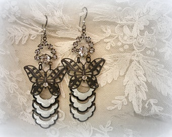 metamorphis one of a kind  vintage assemblage earrings vintage white guilloche enamel on sterling crescents butterfly filigree rhinestones