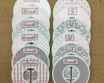 """Closet Dividers, Baby Shower Gift, Newborn Baby Gift, size dividers, baby girl gift, """" Megan"""" in Pink & Grey (Gray)"""