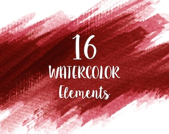 16 Red Watercolor Splotches, Splatters, Brush Strokes; Red Watercolor Clip Art, Transparent Background PNG; Red Watercolor Design Elements