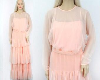 Vintage 1970s Dress Medium - Peach Chiffon Dress - 70s Peach Dress - Long Peach Dress Long Sleeve - Long Pink Dress - Pink Prom Dress