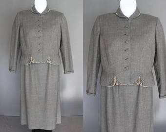 50's Women's Suit    50's Grey Wool Day Suit With Beaded Detailing