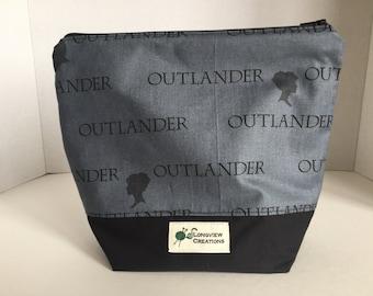 Knitting Project Bag, Wedge Bag, Zippered Bag, Sock Size, Outlander