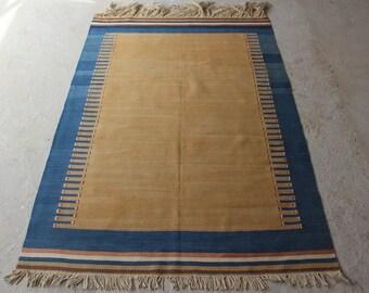 4'7''x6'9'' Vintage Turkish Kilim, Plain Design, Yellow Blue Kilim Rug, Long Fringes, Boho Konya Kilim, Kilim Rug, Oriental Kilim