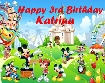 Personalized Mickey Mouse Backdrop - Disney park custom birthday party decoration banner comic cartoon style outdoor - P0173