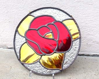 Traditional technique lead, Rose love glass picture