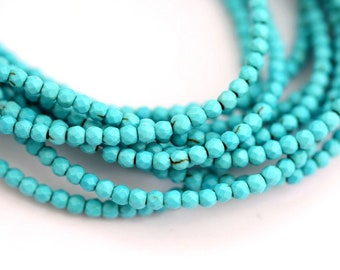 65 Pieces Turquoise Beads 3 mm faceted