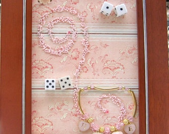 Pink and Brown Upcycled Found Object Art Collage: with Hope Bracelet, Dice
