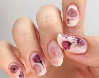 Pressed Cherry Blossom Sakura Flowers Design Water Slide Nail Decals/Nail Tattoos/Nail Stickers