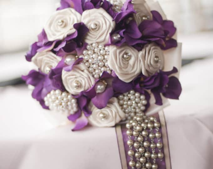 Plum Hydrangea and Ivory Satin Rose Wedding Bouquet