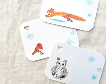 Woodland Christmas gift tags, squirrel, robin, owl, snowflakes, finishing touches, wrapping a present, matching wrap by inkpaintpaper