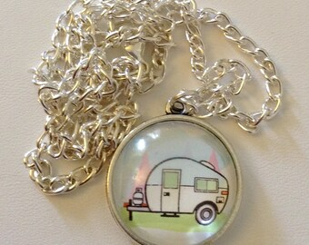 "Happy Camper 20"" Glass Pendant - Camper, pull behind, camp life, RV, camp"