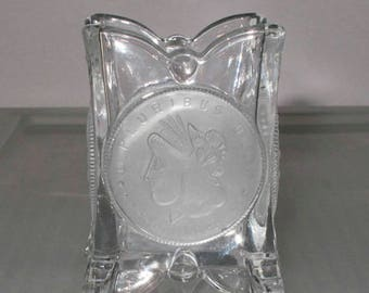 Beautiful US Glass Reproduced Coin Toothpick Holder