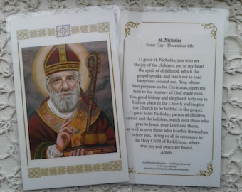 St Nicholas Father Christmas Bishop Laminated Holy-Prayer Card on Warm White Card Stock Image from my Signed, Original Acrylic Painting, Art