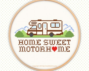 Home Sweet Motor Home Class C cross stitch love heart embroidery pattern house RV travel trailer road recreation vehicle PDF download
