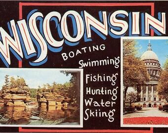 Wisconsin Large Letter Greetings Postcard 1959 (unused)