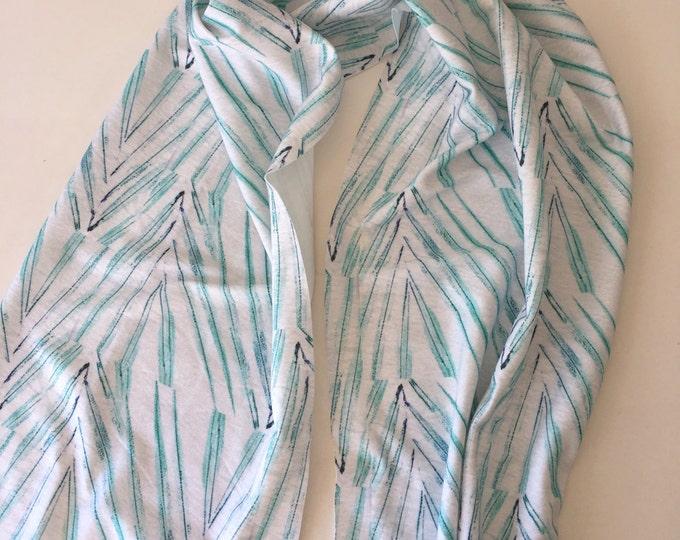 Organic cotton scarf sarong palm leaf pattern