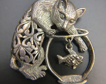 Sterling silver brooch cat reaching into a fishing bowl