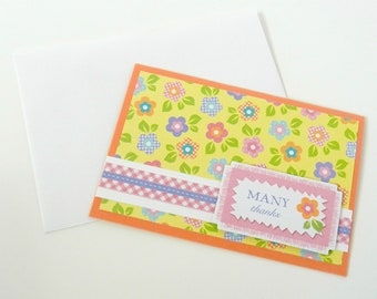 Many Thanks Handmade Card with a Colorful Flower Background and a Simple Thank You