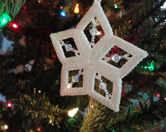 Handmade Beaded Star Ornament Austrian Crystal Beads Peyote Stitch Christmas White/Opal/lt Sapphire