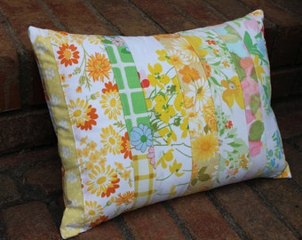 Patchwork Pillow Cover 12 x 16 Floral Vintage Fabric
