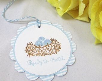 10 Nest Baby Shower Tags - Ready to Hatch Boy Hang Tags - Bird Nest with Eggs Tags - Blue Egg Tags - About to Hatch Tags - Blue Nest Tag