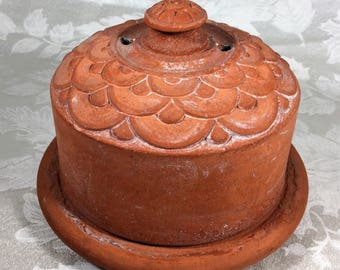 Clay Butter Cheese Keeper Germany Antique Rustic Farmhouse Cottage Kitchen Collectible Vintage Decor Terracotta Handmade