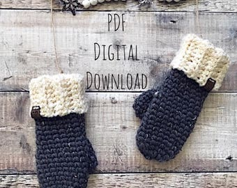 Frosty Forest Mittens PDF DIGITAL DOWNLOAD Crochet pattern, crochet mitten pattern, chunky crochet mitten pattern, cozy mitten, knit look