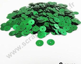Flat sequin - green - 6mm - x 400pcs sequin