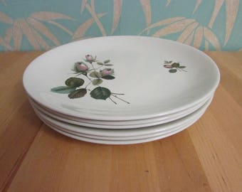 """Set of 6 1950s Johnson Bros Snowhite """"Rose"""" dinner plates"""